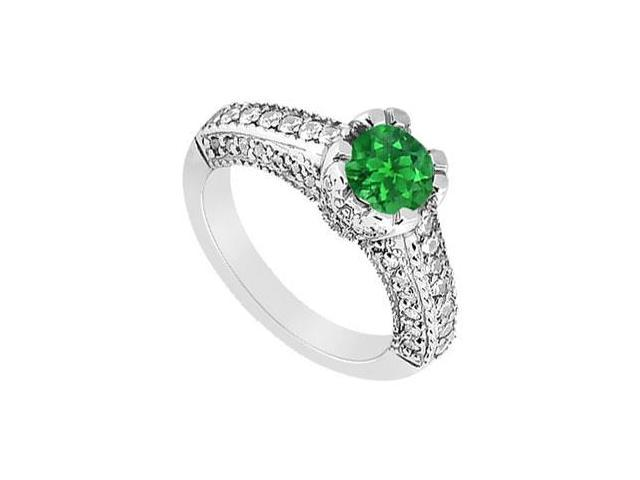 May Birthstone Created Emerald Engagement Ring with Split Prong  Milgrain 14K White Gold