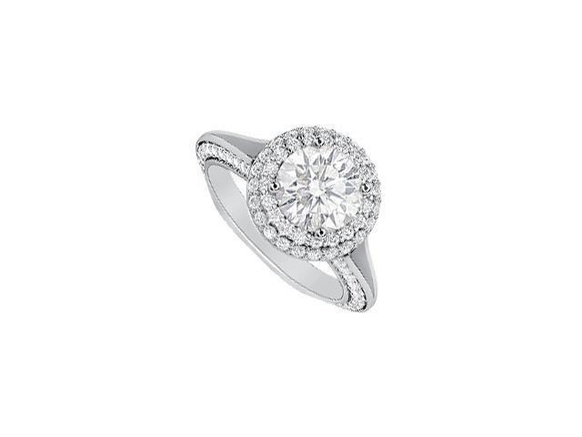 Diamond Platinum Engagement Ring with Pave Set Diamonds of Two Carat Totaling