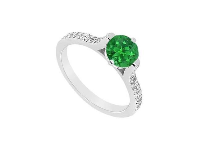 Emerald and Diamond Engagement Ring  14K White Gold - 0.75 CT TGW