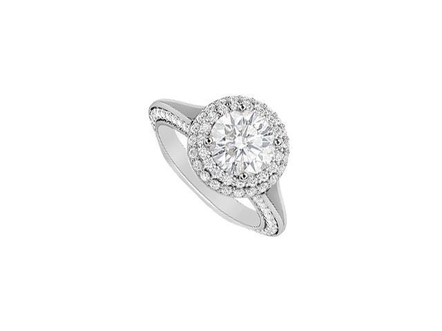 Diamond Halo Engagement Ring 2 Carat Diamonds Totaling in 14K White Gold