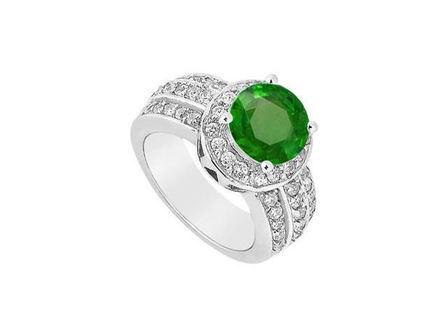 May Birthstone Created Emerald Halo Ring with Three Row CZ in 14K White Gold 1 CT TGW