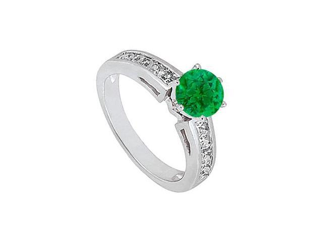 May Birthstone Created Emerald and CZ Engagement Rings 14K White Gold 1.50 CT TGW