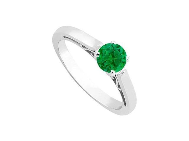 May Birthstone Emerald Solitaire Ring in 14K White Gold 0.50 CT TGW