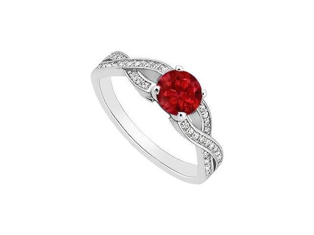 July Birthstones Engagement Ring Gemstones Rubies and Cubic Zirconia 14K White Gold 1.00 CT