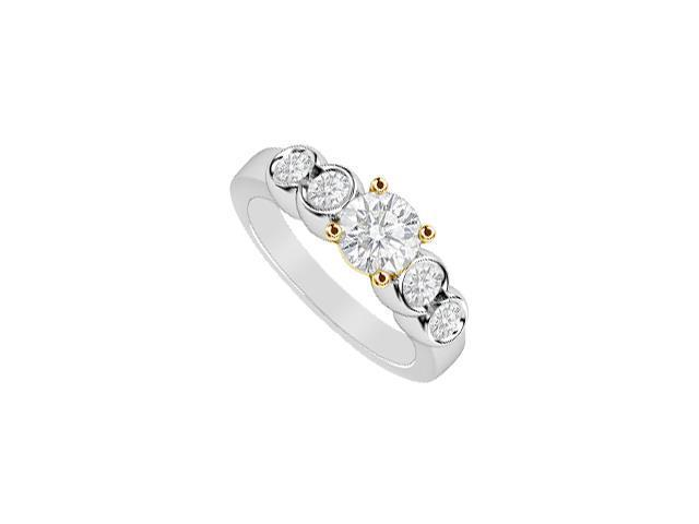 Diamond Five Stone Ring 1 Carat Diamonds in 14K Two Tone White and Yellow Gold Engagement Ring