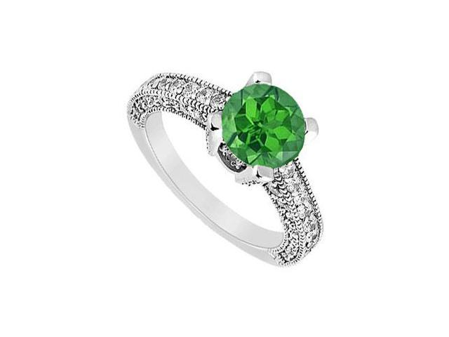 May Birthstone Created Emerald and CZ Milgrain Engagement Ring in 14K White Gold 1.25 CT TGW