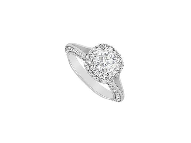 Diamond Halo Engagement Ring in 14K White Gold Two Carat Diamonds