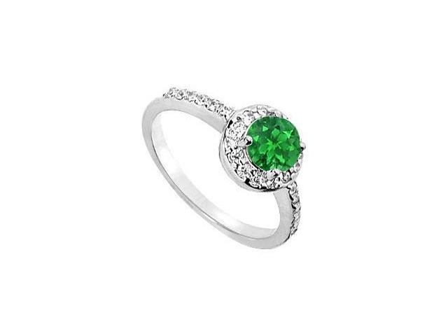 May Birthstone Created Emerald  CZ Halo Engagement Ring in 14kt White Gold 1.50 CT TGW