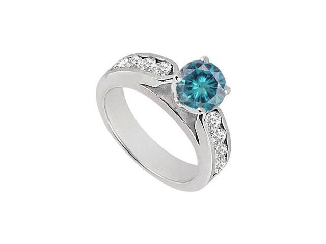 Blue  White Diamond Engagement Ring 14K White Gold  0.75 CT TDW