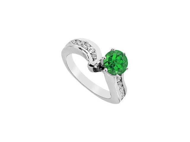 May Birthstone Created Emerald and Cubic Zirconia Engagement Ring in 14kt White Gold 1.5 CT TGW