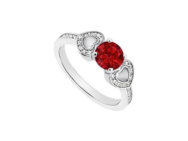 July Birthstones  Round Engagement Ring Ruby Gemstone and Cubic Zirconia 14K White Gold