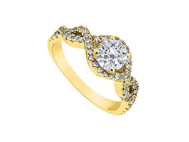 14K Yellow Gold Diamond Engagement Ring with 1 Carat Total Diamond Weight