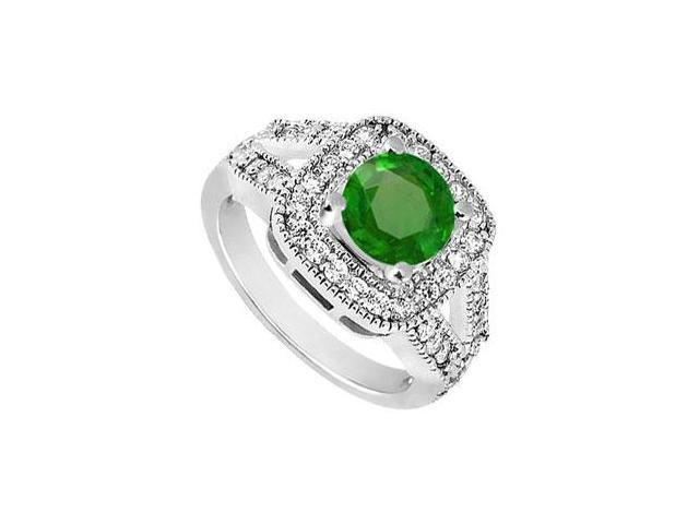 May Birthstone Created Emerald and CZ Split Shank Engagement Ring in 14K White Gold 1.50 CT TGW