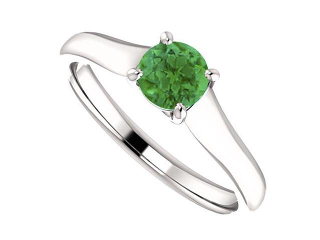 May Birthstone Emerald Engagement Rings in 14kt White Gold 0.50 CT TGW