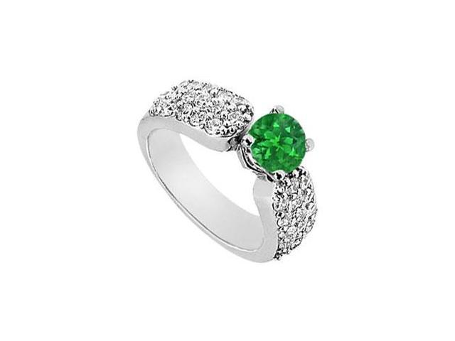 May Birthstone Created Emerald  CZ Wide Shank Multi-Row Engagement Ring 14K White Gold 2 CT TGW