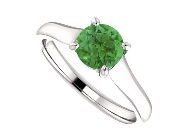 May Birthstone Created Emerald Engagement Rings in 14kt White Gold 1.00 CT TGW