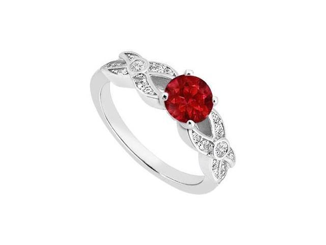 Perfect Engagement Ring  Birthstones Rubies and Cubic Zirconia 14k White Gold 1.00 CT TGW
