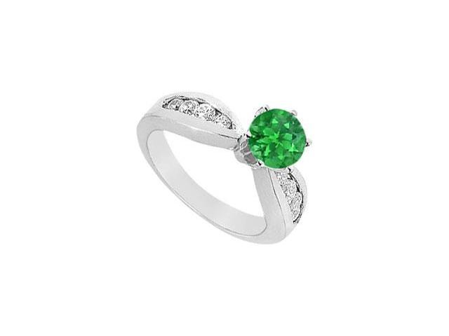 Tiffany Style Setting Created Emerald and CZ Engagement Ring in 14K White Gold 1.5 CT TGW