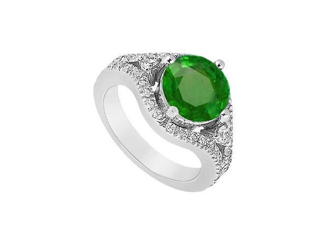 May Birthstone Created Emerald  CZ Split Shank Engagement Ring in 14K White Gold 0.75 CT TGW