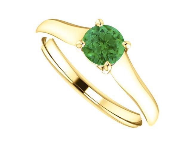 May Birthstone Emerald Engagement Rings in 14kt Yellow Gold 0.50 CT TGW