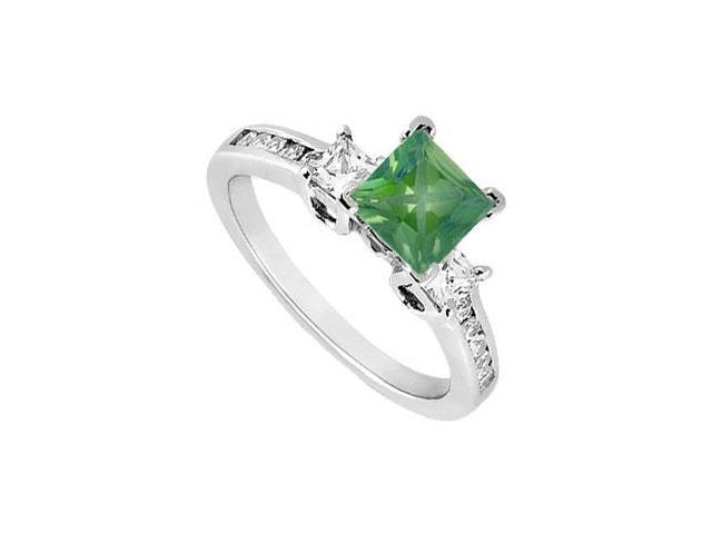 Square May Birthstone Created Emerald  CZ Three Stone Engagement Ring 14K White Gold 1 CT TGW