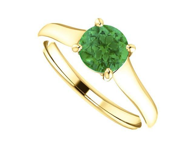 May Birthstone Created Emerald Engagement Rings in 14kt Yellow Gold 1.00 CT TGW
