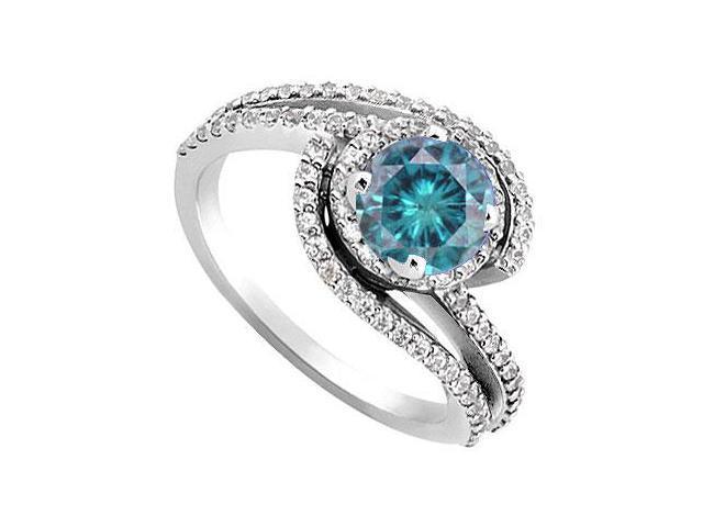 Blue and White Diamond Engagement Ring 14K White Gold 1.10 CT TDW