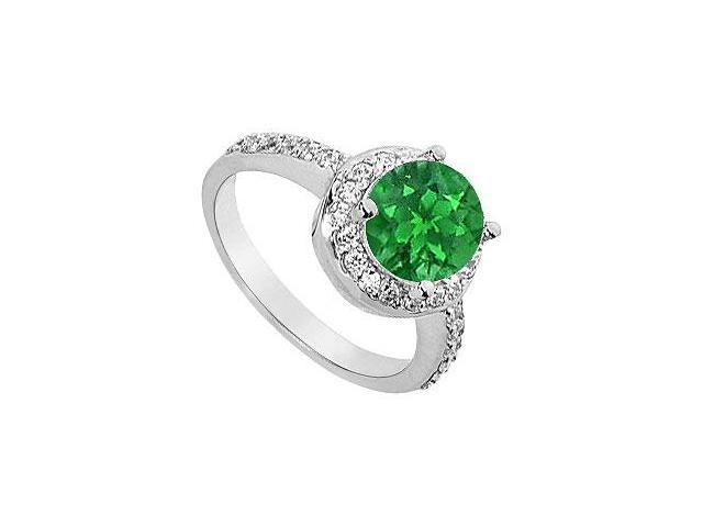 May Birthstone Created Emerald  CZ Halo Engagement Ring in 14kt White Gold 2.50 CT TGW