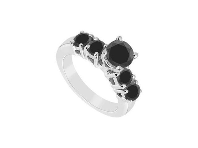 Black Diamond Ring  14K White Gold - 1.00 CT Diamonds