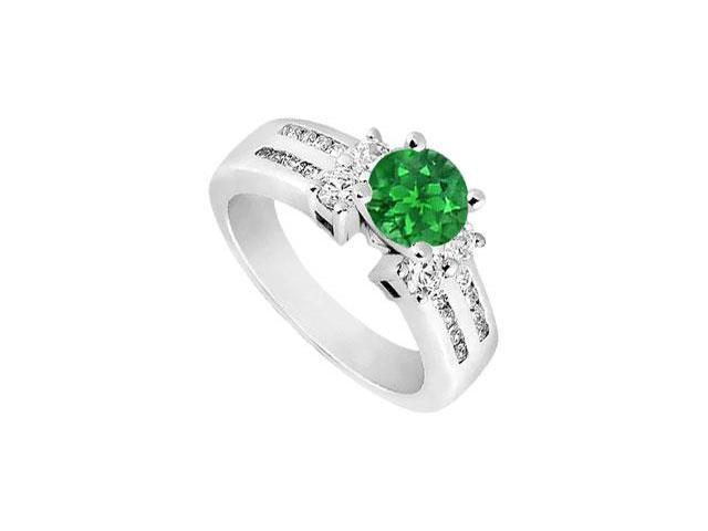 May Birthstone Created Emerald and CZ Wide Two Row Shank Engagement Ring 14K White Gold 2 CT TGW