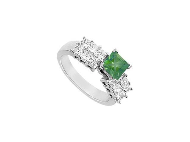 Square May Birthstone Created Emerald  CZ  Two Row Engagement Ring 14K White Gold 2 CT TGW