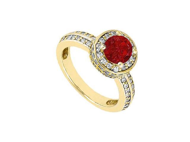 July Birthstones Halo Engagement Ring Rubies and Cubic Zirconia Yellow Gold 14K 1.00 CT  TGW