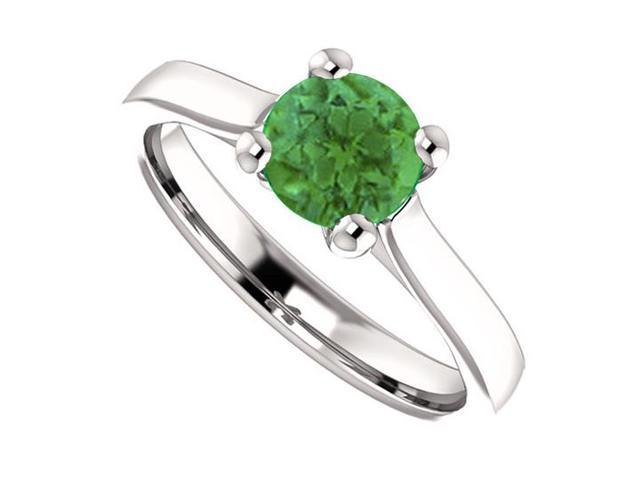 May Birthstone Created Emerald Engagement Ring in 14kt White Gold 1.00 CT TGW