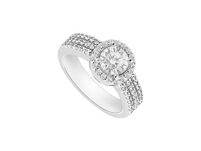 Diamond Halo Engagement Ring  14K White Gold - 1.00 CT TGW