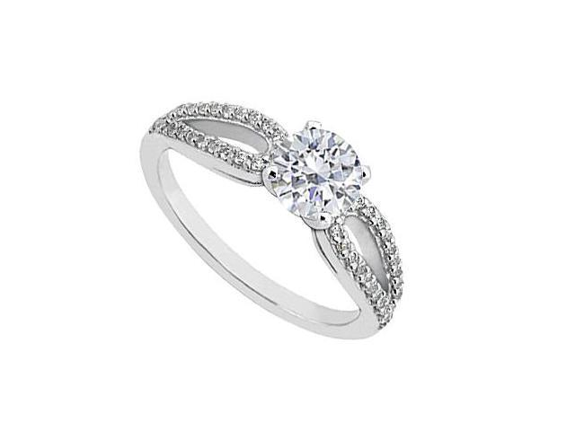 14K White Gold Diamond Engagement Ring 0.75 Carat Total Diamond Weight