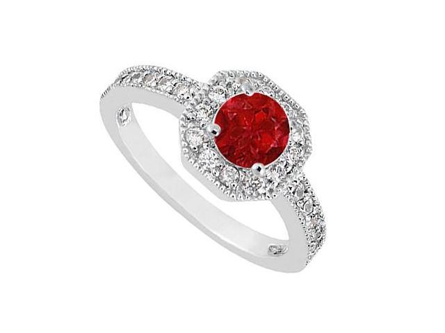Birthstones Rubies and Cubic Zirconia Engagement Ring White Gold 14K Gemstones 1.00 CT