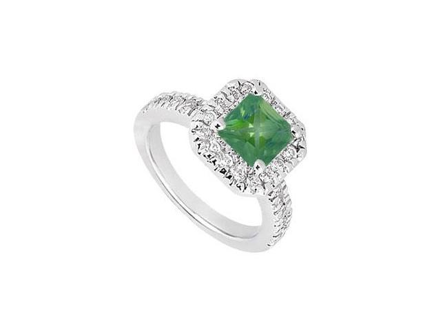 May Birthstone Square Created Emerald  CZ Halo Engagement Ring 14K White Gold 1 CT TGW