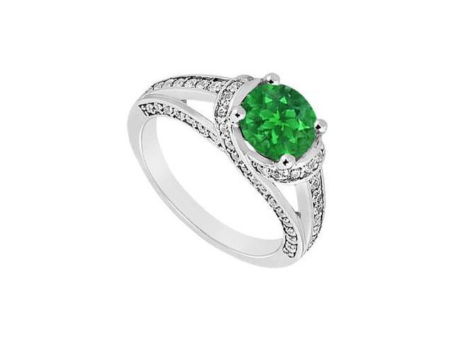 May Birthstone Created Emerald  CZ Split Prong Engagement Ring 14K White Gold 1 CT TGW