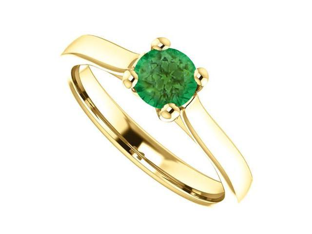 May Birthstone Emerald Engagement Ring in 14kt Yellow Gold 0.50 CT TGW