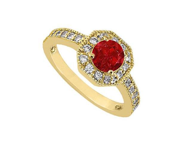 Birthstones Rubies and Cubic Zirconia Halo Engagement Ring Yellow Gold 14K Gemstones 1.00 CT