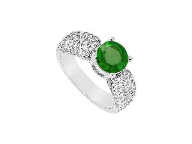 May Birthstone Created Emerald Wide Shank Milgrain Engagement Ring in 14K White Gold 1 CT TGW