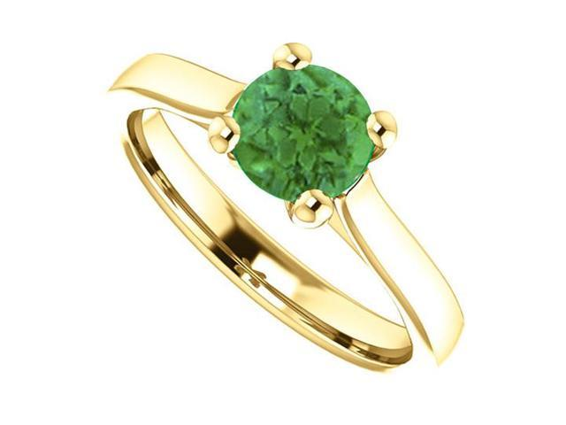 May Birthstone Created Emerald Engagement Ring in 14kt Yellow Gold 1.00 CT TGW