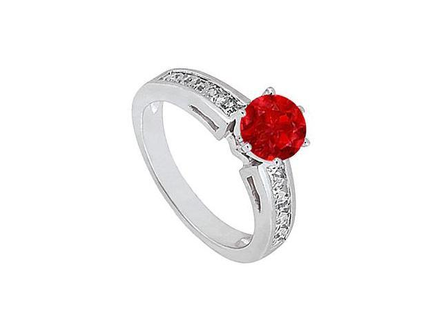 Round Engagement Ring Birthstones Rubies nd Cubic Zirconia White Gold 14K 1.5 CT TGW