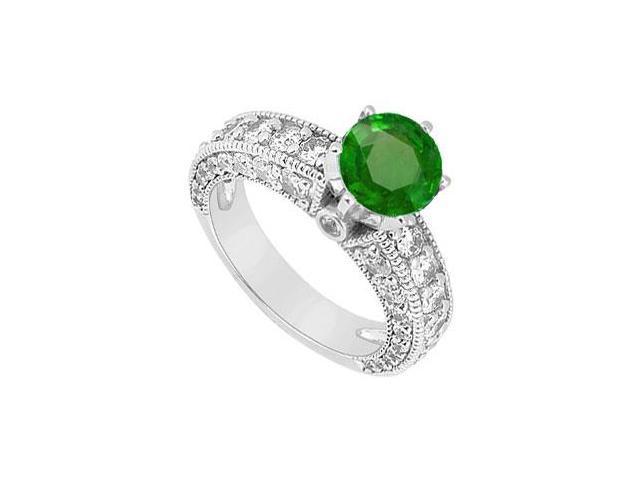 May Birthstone Created Emerald  CZ Milgrain Engagement Ring in 14K White Gold 2.00 CT TGW