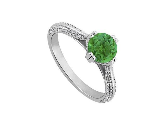 May Birthstone Emerald  Diamond Engagement Rings in 14K White Gold 1.25 CT TGW