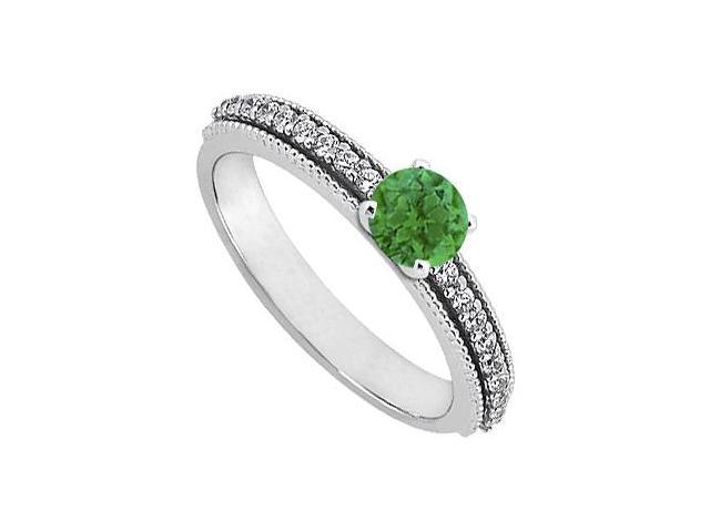 May Birthstone Emerald  Diamond Engagement Rings in 14K White Gold 0.75 CT TGW