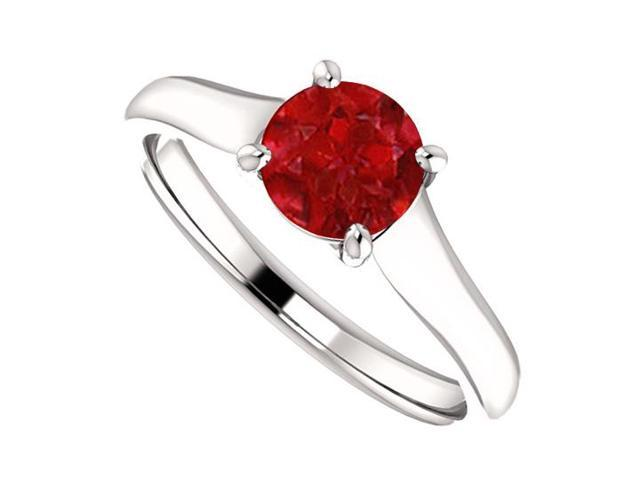 July Birthstone Created Ruby Engagement Rings in 14K White Gold 1CT TGW
