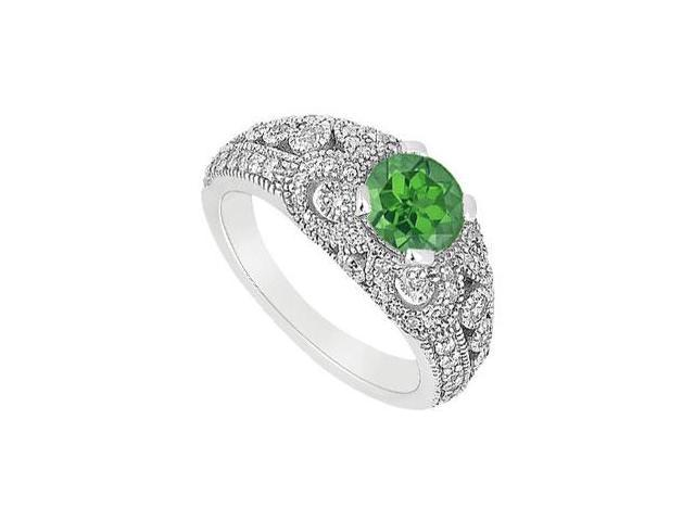 May Birthstone Created Emerald  CZ Filigree Engagement Rings in 14K White Gold 1 CT TGW