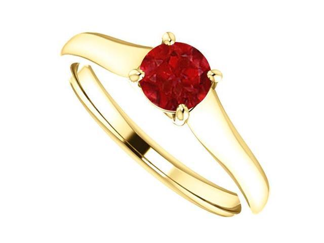 July Birthstone Ruby Engagement Rings in 14K Yellow Gold 0.50 CT TGW