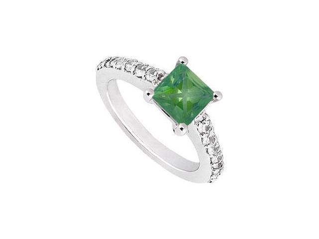 May Birthstone Square Created Emerald  CZ Engagement Ring 14kt White Gold 1.50 CT TGW